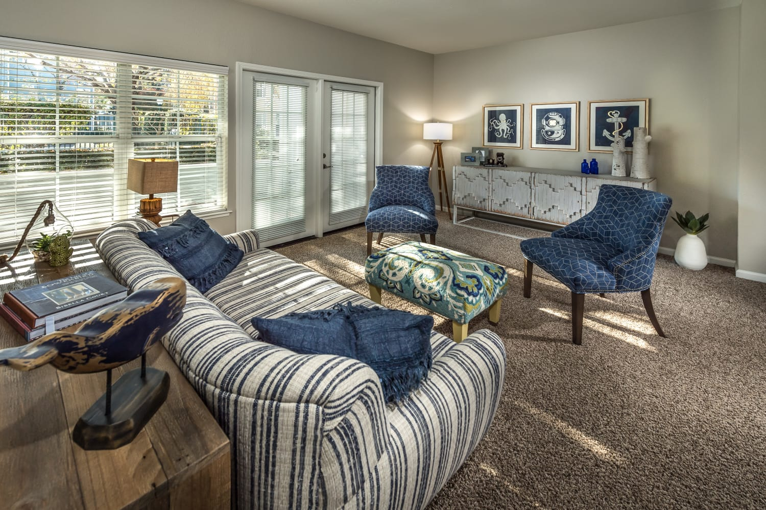 Open living room at Nantucket Apartments in Santa Clara, California