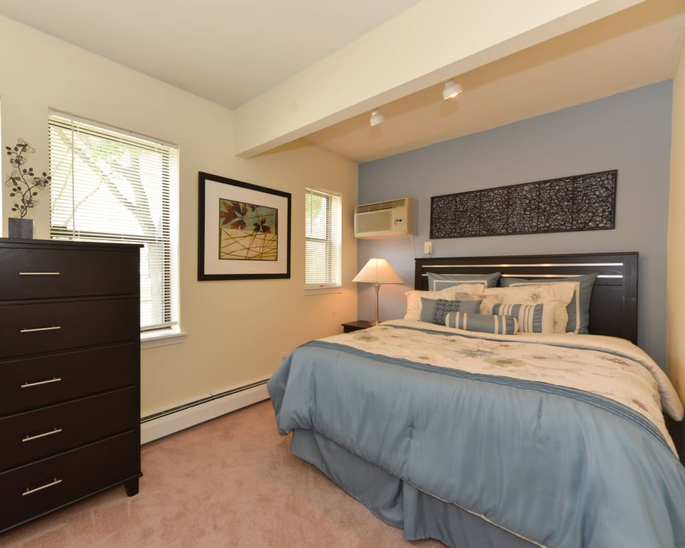 Furnished bedroom in model unit at Clemens Place in Hartford, Connecticut