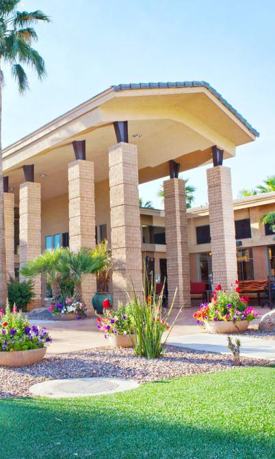 Landscaped grounds around McDowell Village in Scottsdale, Arizona