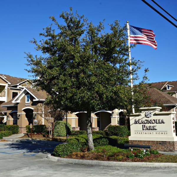Entrance to Magnolia Park Apartment Homes in Chalmette, Louisiana