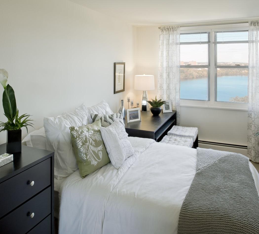 Lovely model bedroom at Parkside Place in Cambridge, Massachusetts