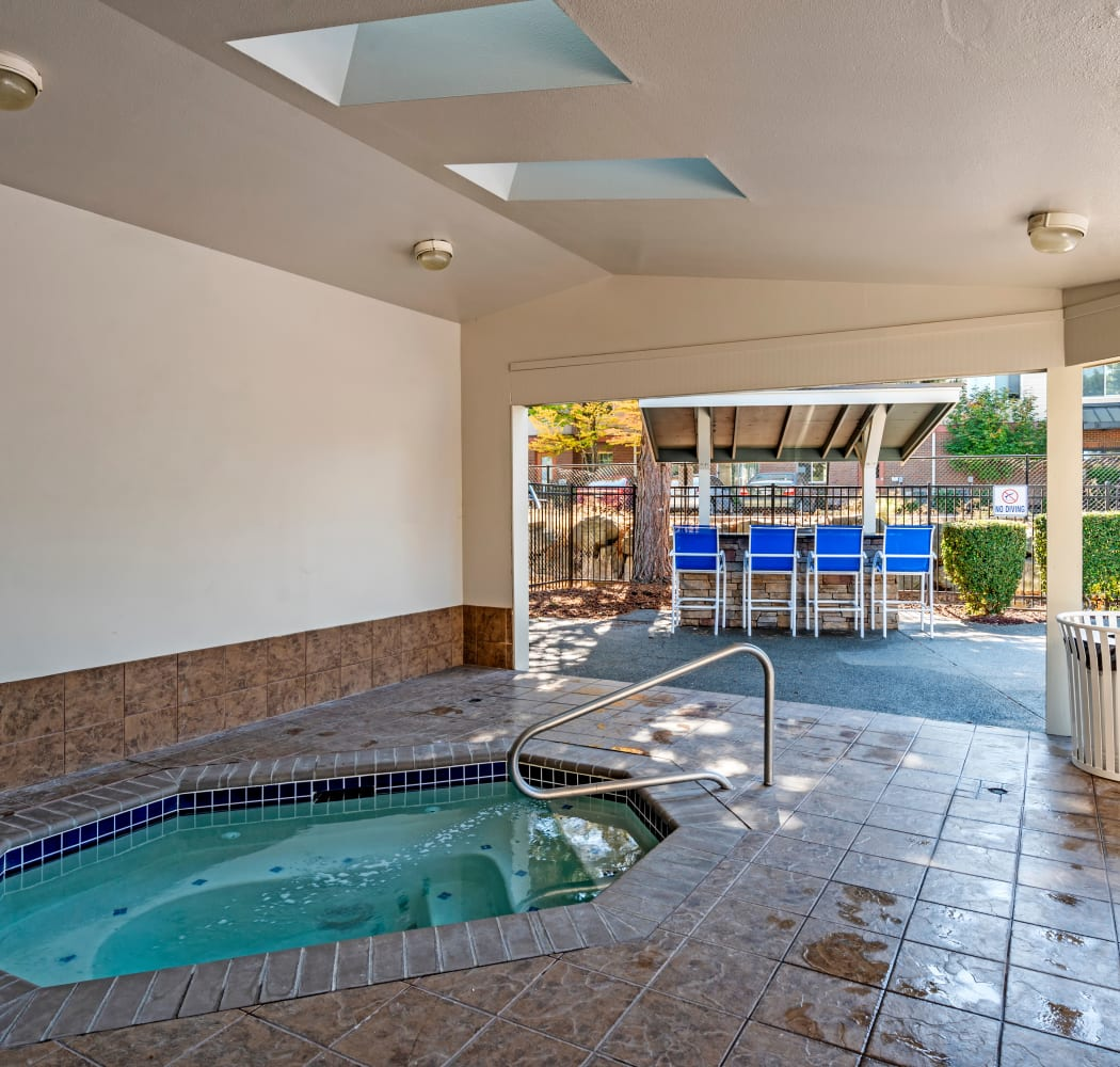 View of the covered spa at Hamptons Apartments in Puyallup, Washington