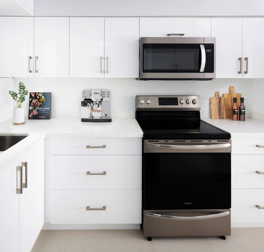 Kitchen with oven at Larchway Gardens in Vancouver, British Columbia