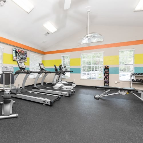 View virtual tour of the fitness center at The Vue at Baymeadows Apartment Homes in Jacksonville, Florida