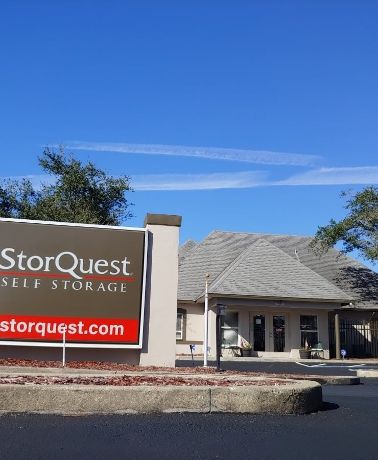 The exterior of the main entrance at StorQuest Self Storage in Clearwater, Florida