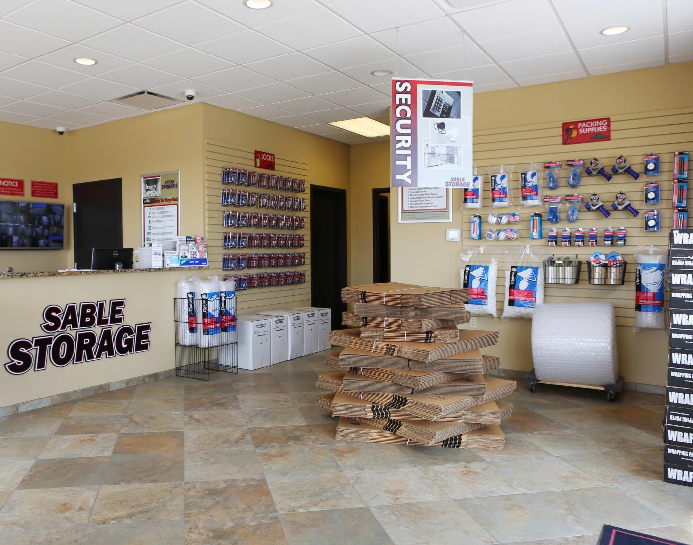 Storage suplies at Sable Storage in Brighton, Colorado
