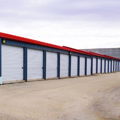 Outdoor storage units at Red Dot Storage in DeKalb, Illinois