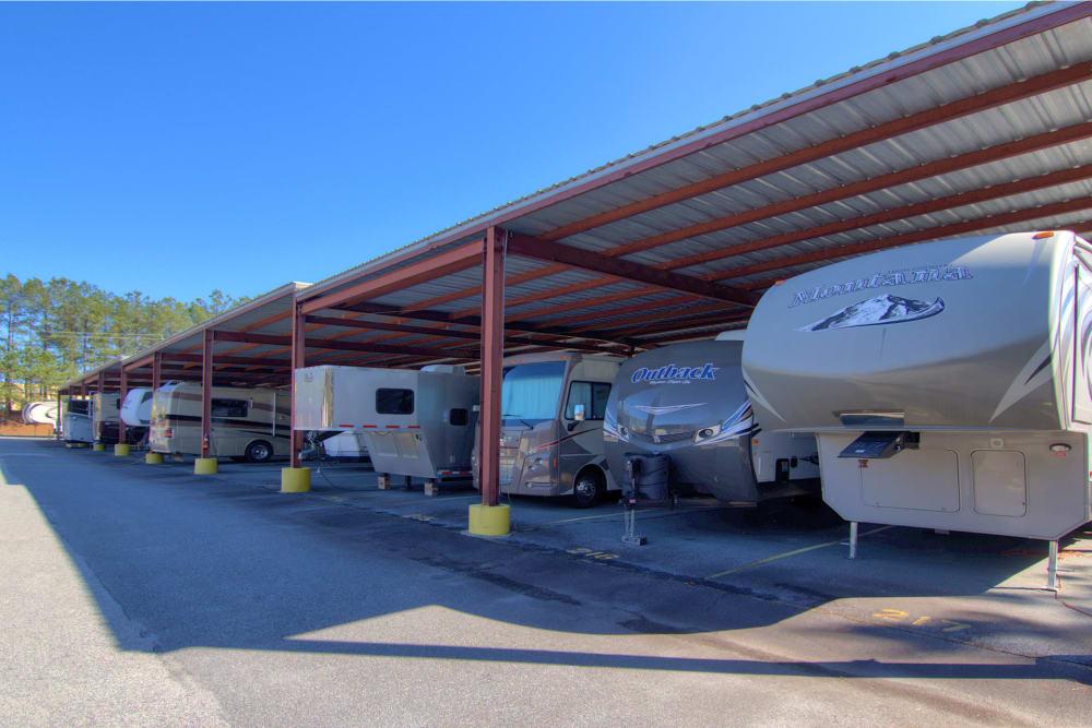 Covered RV parking at Prime Storage in Acworth, Georgia