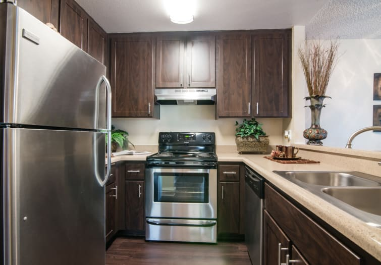 brown kitchen renovation with stainless steel appliances at Lakeview Village Apartments in Spring Valley,