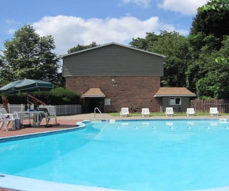 Sparkling swimming pool at Lake Vista Apartments in Rochester, New York