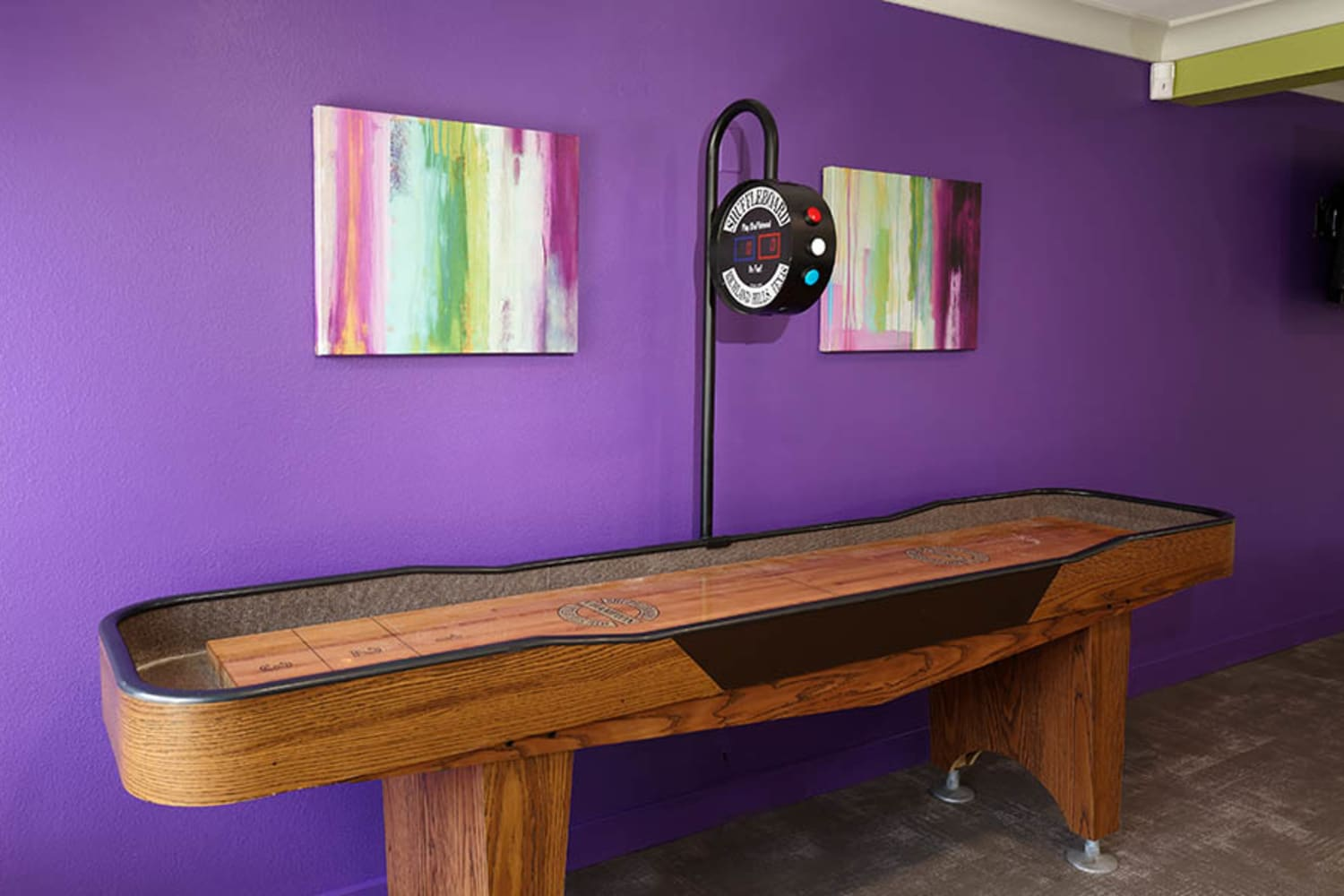UCA Apartment Homes in Fullerton, California, offer a shuffleboard table