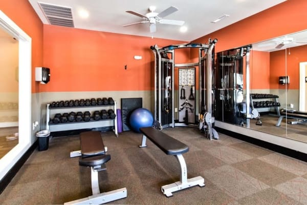 24-hour resident fitness center at Aventura at Richmond in Saint Peters, Missouri.