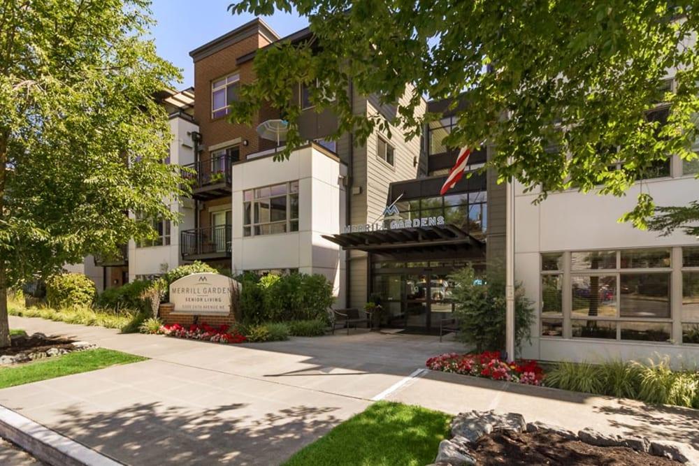 Main entrance to Merrill Gardens at The University in Seattle, Washington.