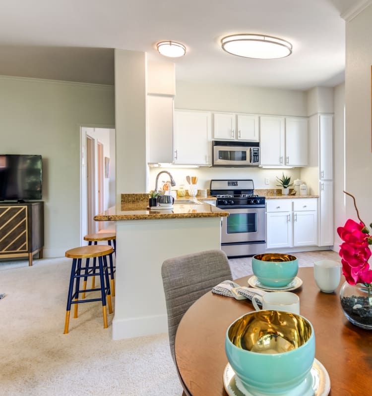 Open concept floor plan in a model home at Sofi Shadowridge in Vista, California