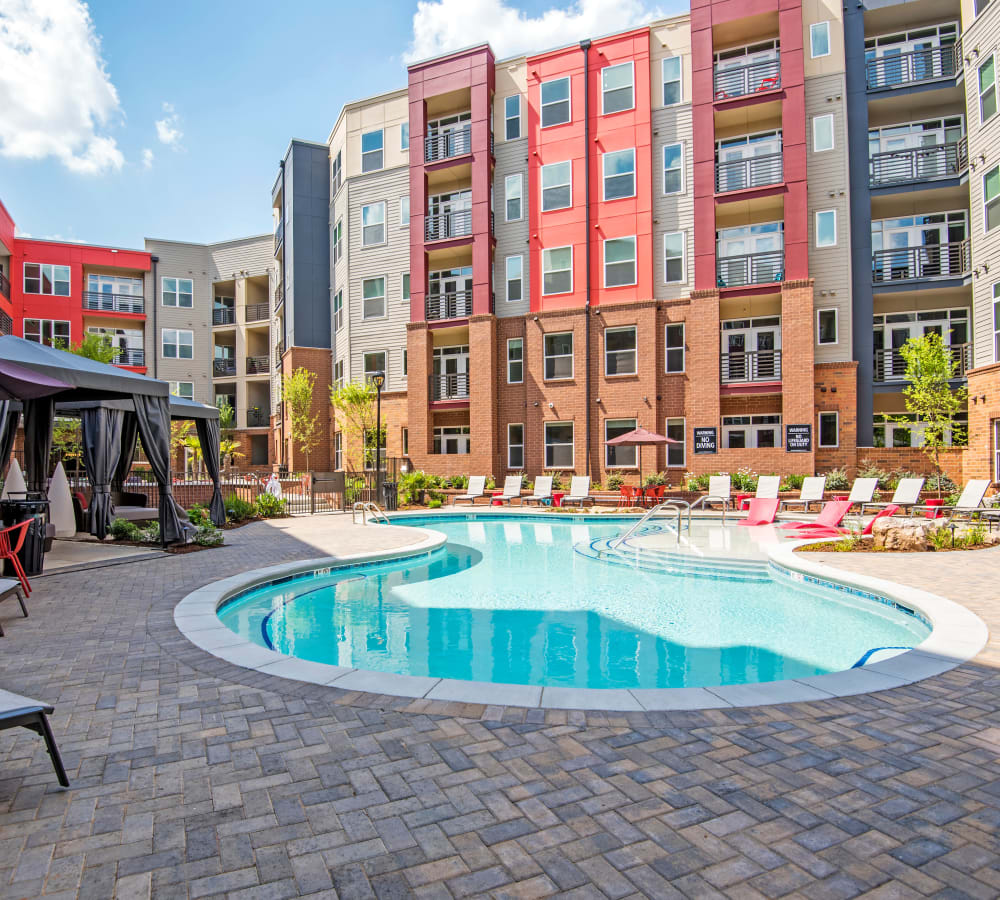 Outdoor pool in courtyard at Mercury NoDa in Charlotte, North Carolina