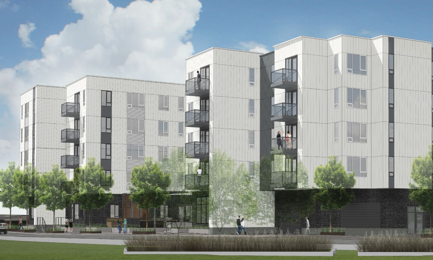 Exterior rendering of ground-level view at Grant Park Village - Quimby from the southeast in Portland, OR