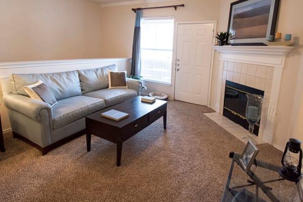 Living room at Stonehaven Villas in Tulsa, Oklahoma