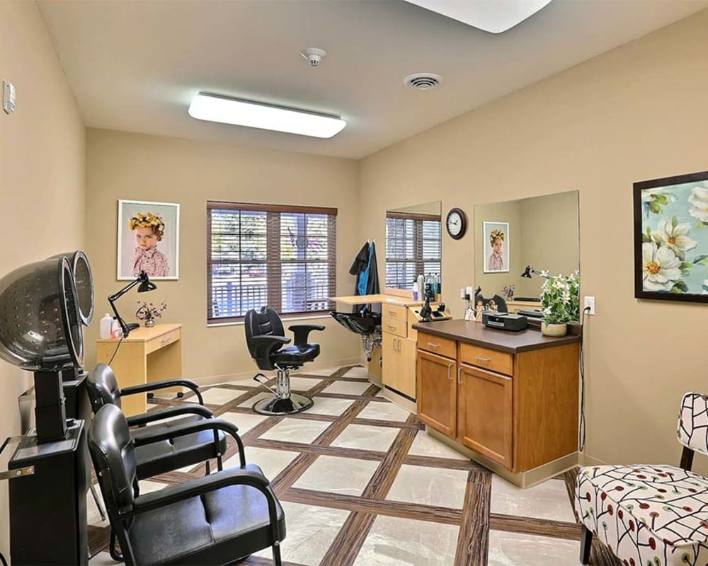 Styling salon for residents at Milestone Senior Living in Tomahawk, Wisconsin.
