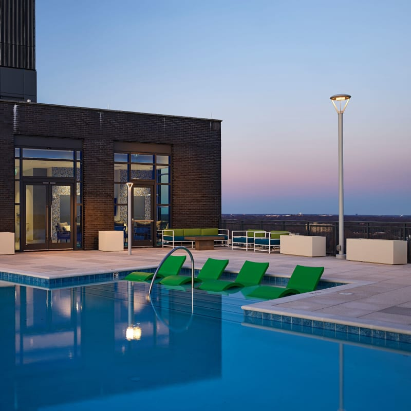 Luxury swimming pool with an expansive sundeck at Solaire 8250 Georgia in Silver Spring, Maryland