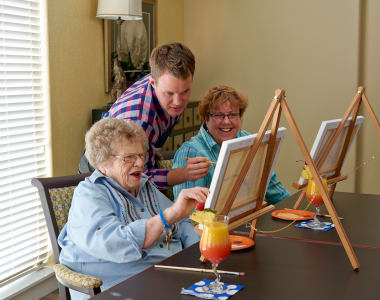 Residents taking an art class at Burr Ridge Senior Living in Burr Ridge, IL