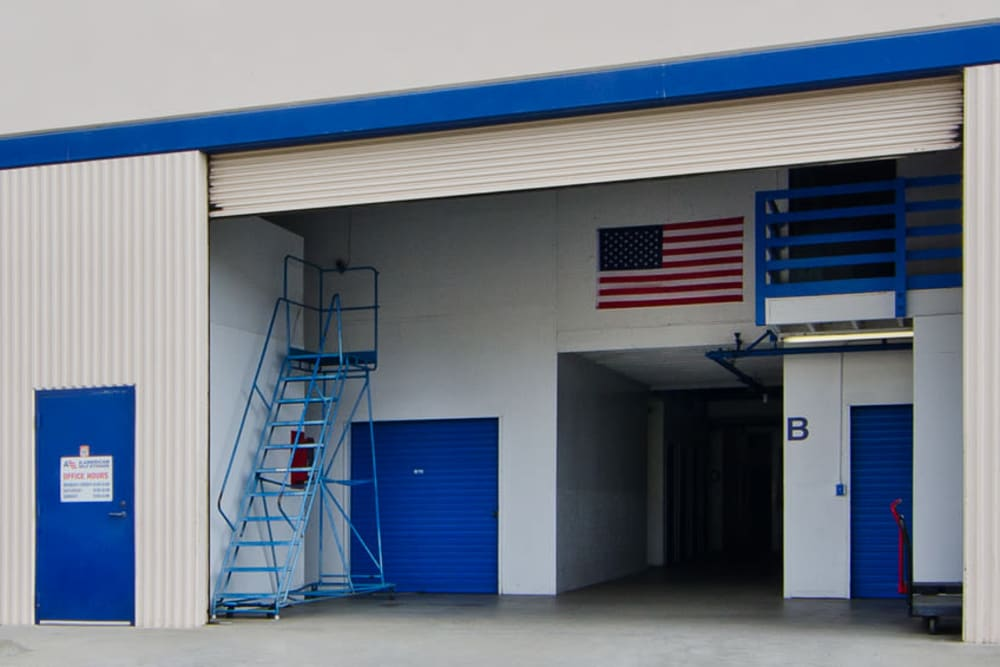 Back entrance at A-American Self Storage in Santa Barbara, California
