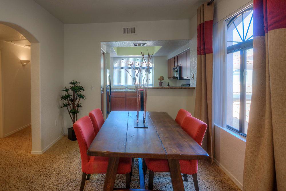 Dining room in model home at San Prado in Glendale, Arizona