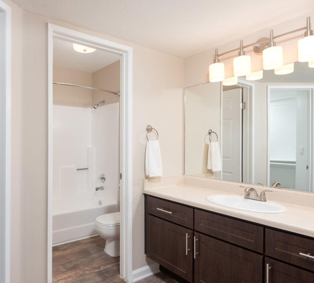 Master bathroom with a large vanity mirror at Shadow Ridge Apartment Homes in Simi Valley, California