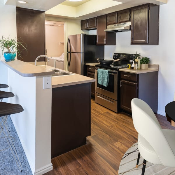 Brown Renovated Kitchen with Stainless Steel Appliances at Shadowbrook Apartments in West Valley City