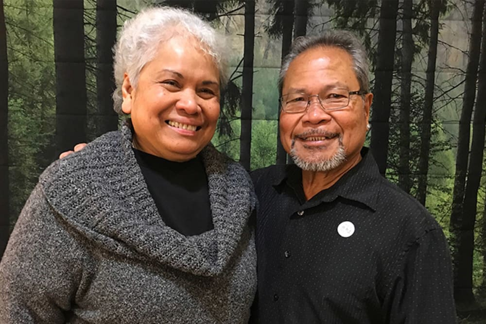 Resident couple at a special event at Merrill Gardens at First Hill in Seattle, Washington