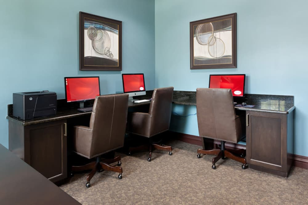 Computer lab for resident use at San Merano at Mirasol in Palm Beach Gardens