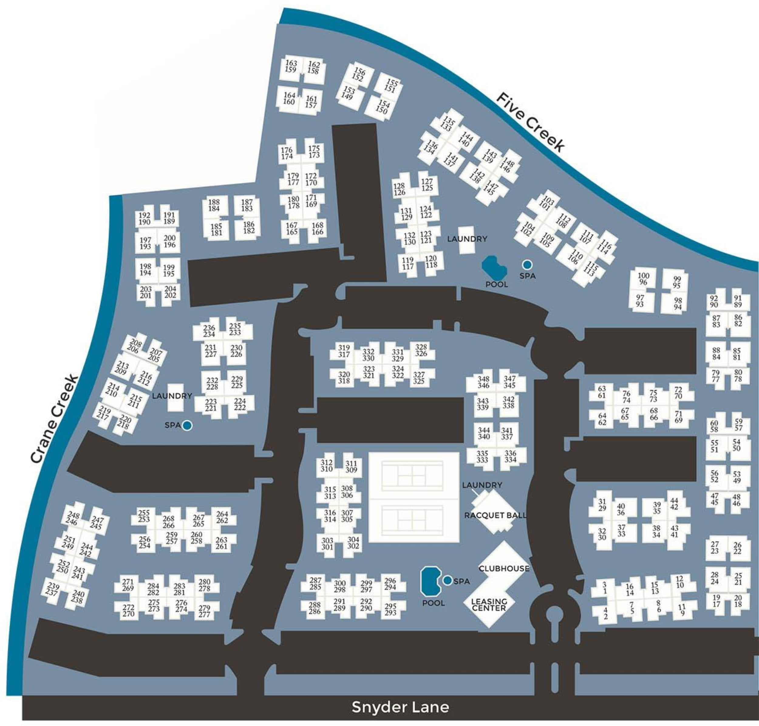 Community site map for Park Ridge Apartment Homes in Rohnert Park, California