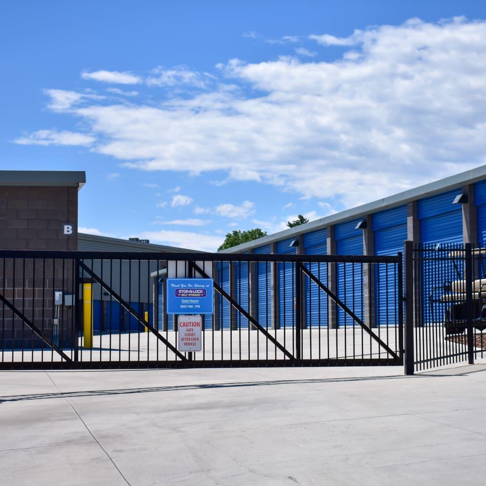 The secure front gate at STOR-N-LOCK Self Storage in Colorado Springs, Colorado