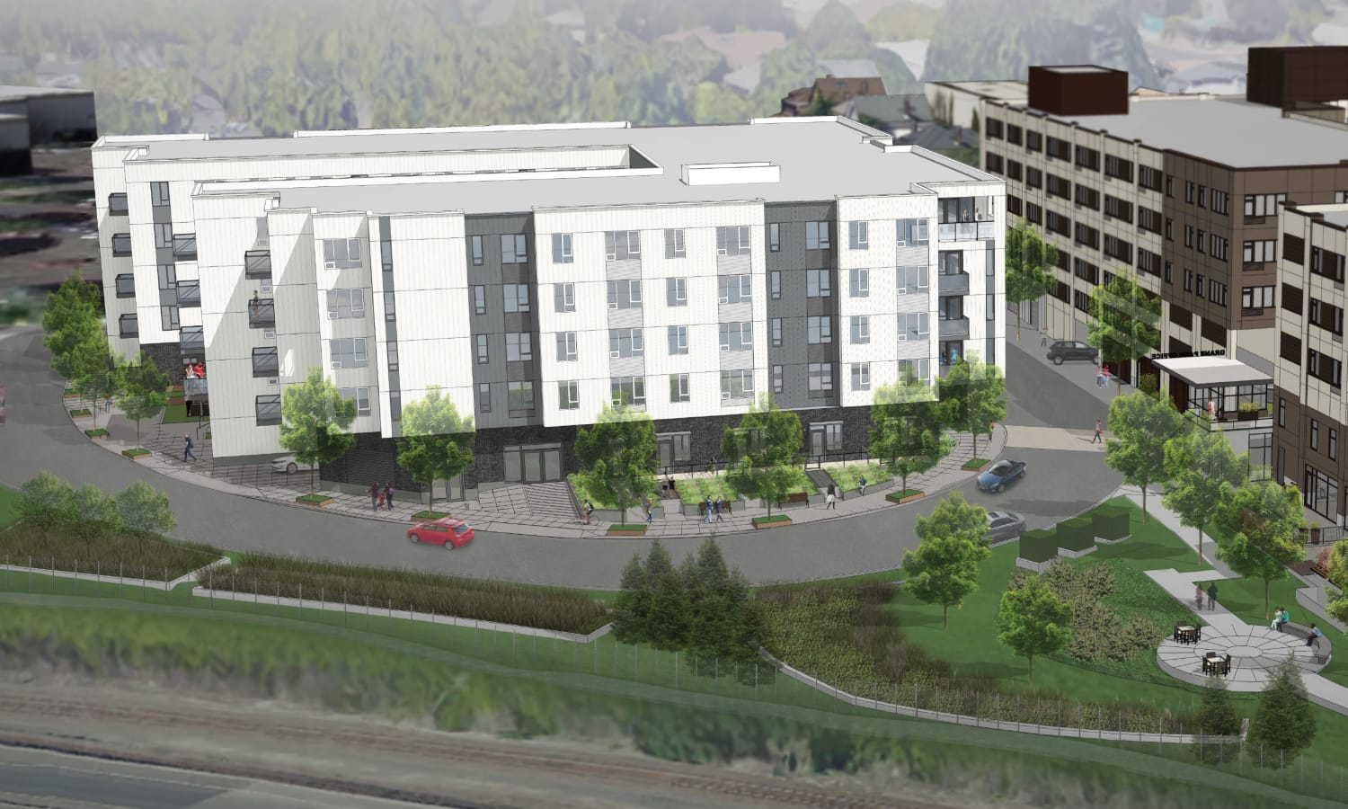 Aerial view rendering of Grant Park Village - Quimby from the east in Portland, OR