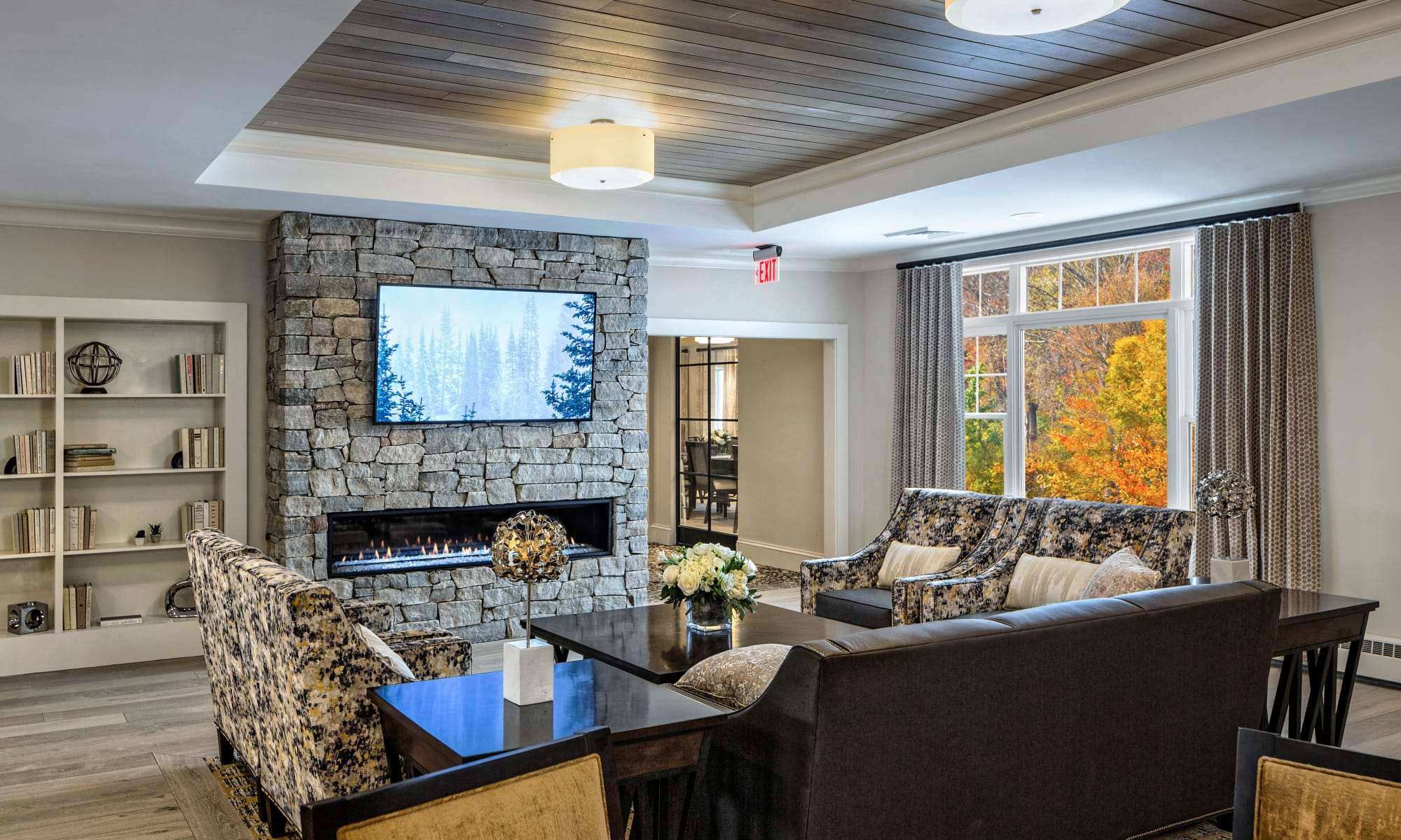 Beautiful living room at apartments in Weston, Massachusetts
