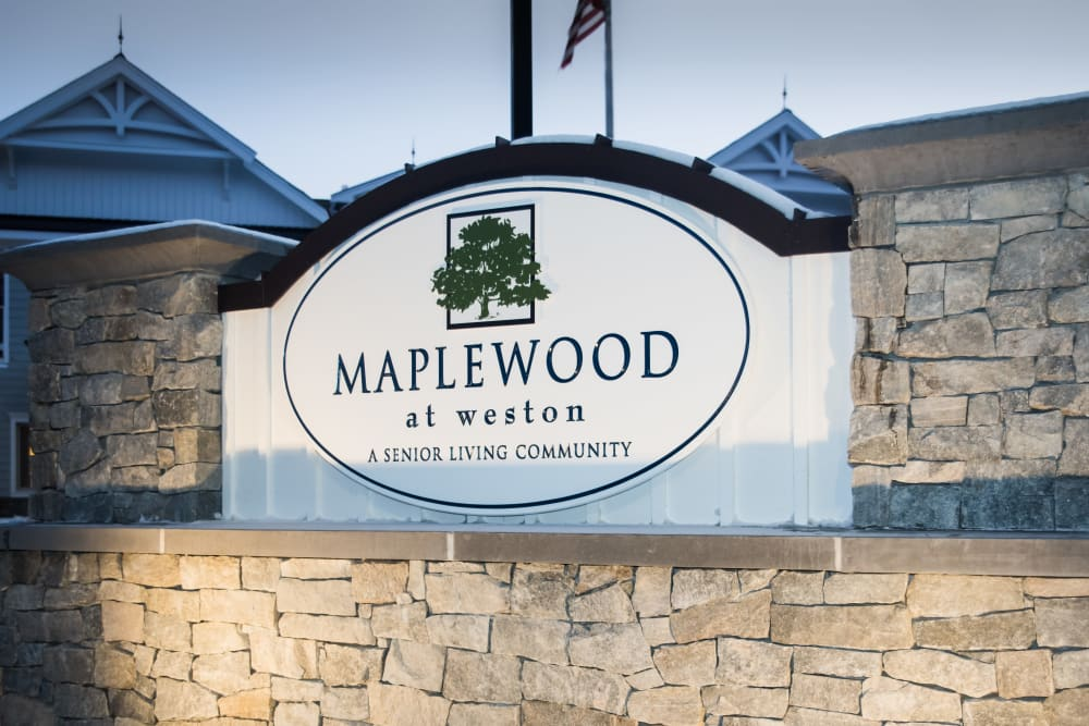 Signage outside of Maplewood at Weston in Weston, Massachusetts