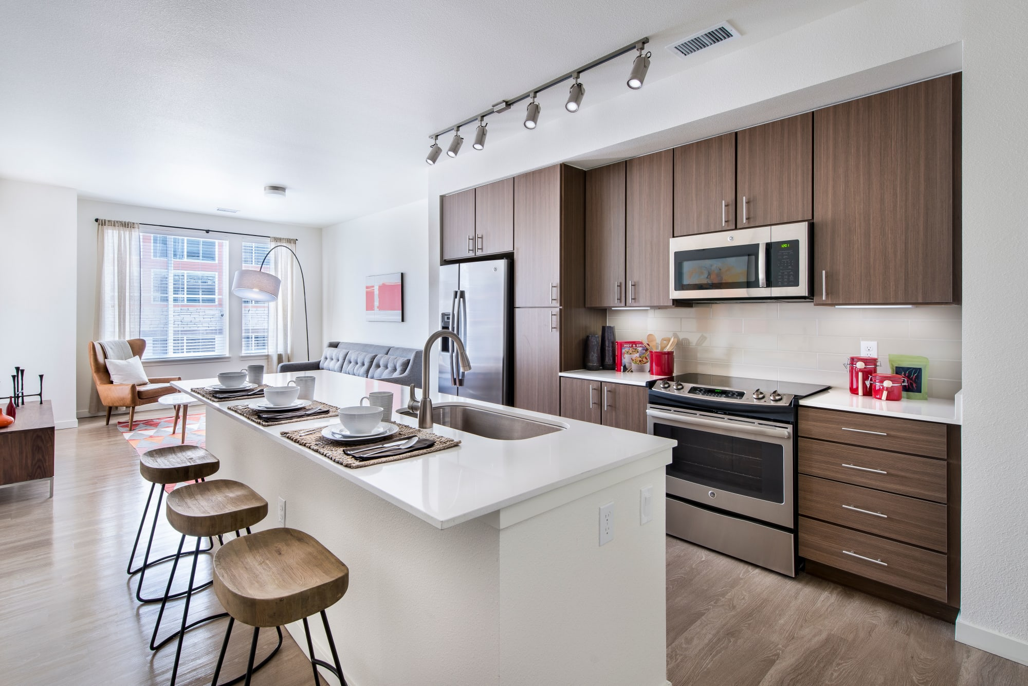 A kitchen with modern appliances at Elevate in Englewood, Colorado