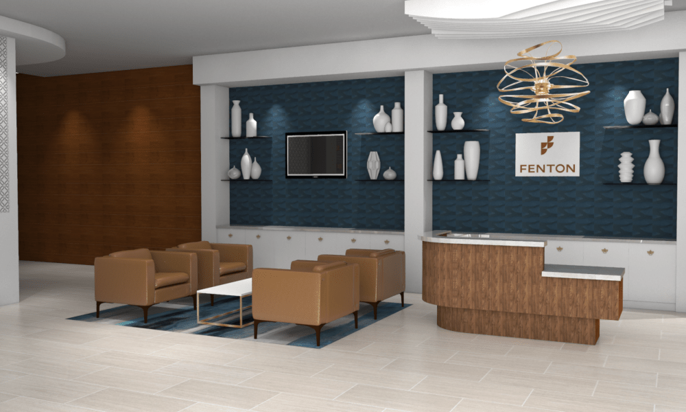 Rendering of check-in and waiting area at Fenton Silver Spring in Silver Spring, Maryland.