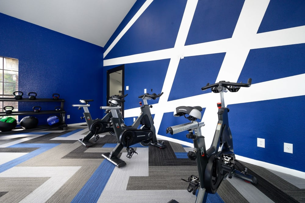 Cycling station in fitness center at Laurel Heights at Cityview in Fort Worth, Texas
