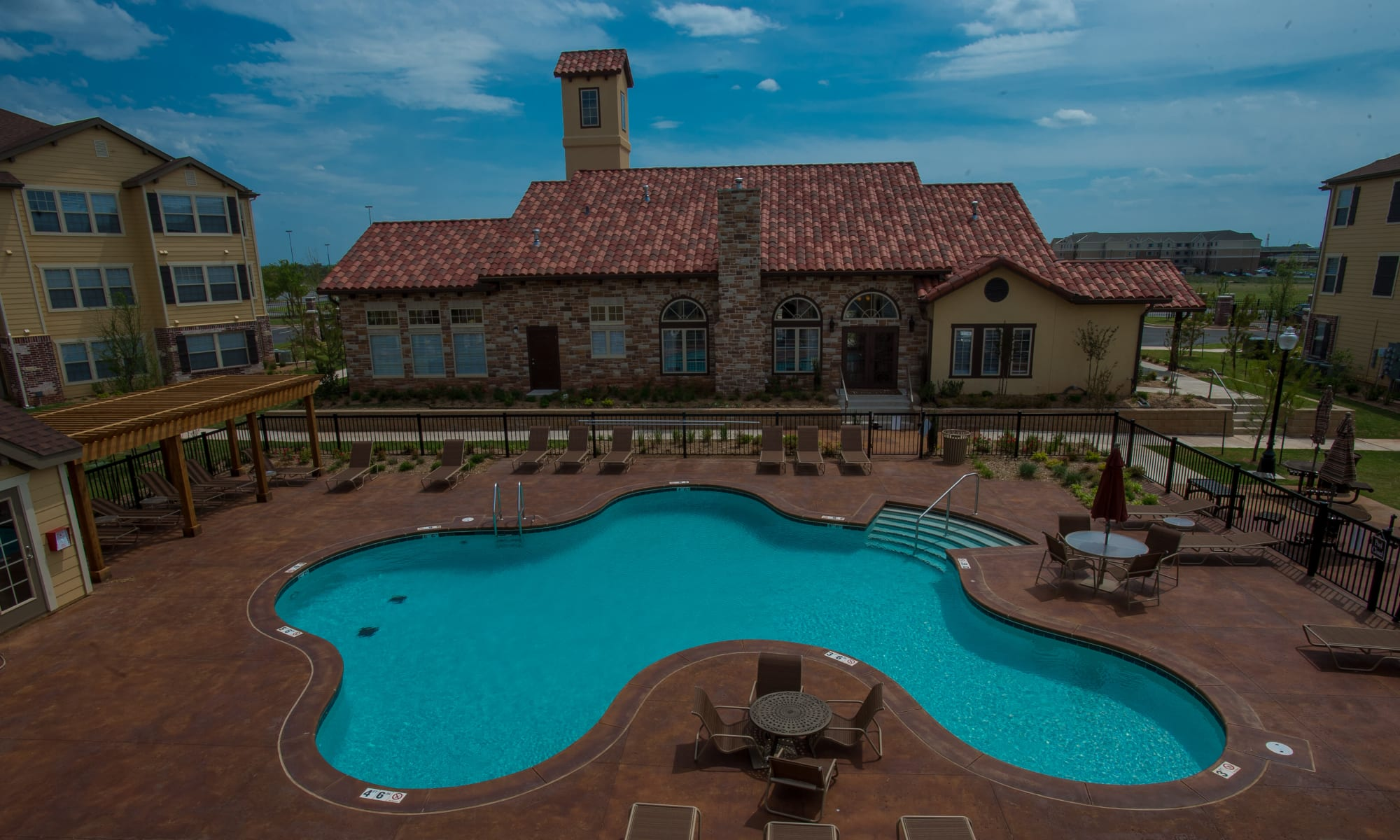 Resort style pool at Park at Tuscany apartments in Oklahoma City, Oklahoma