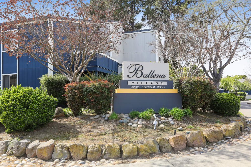Front sign at Ballena Village Apartment Homes in Alameda, California