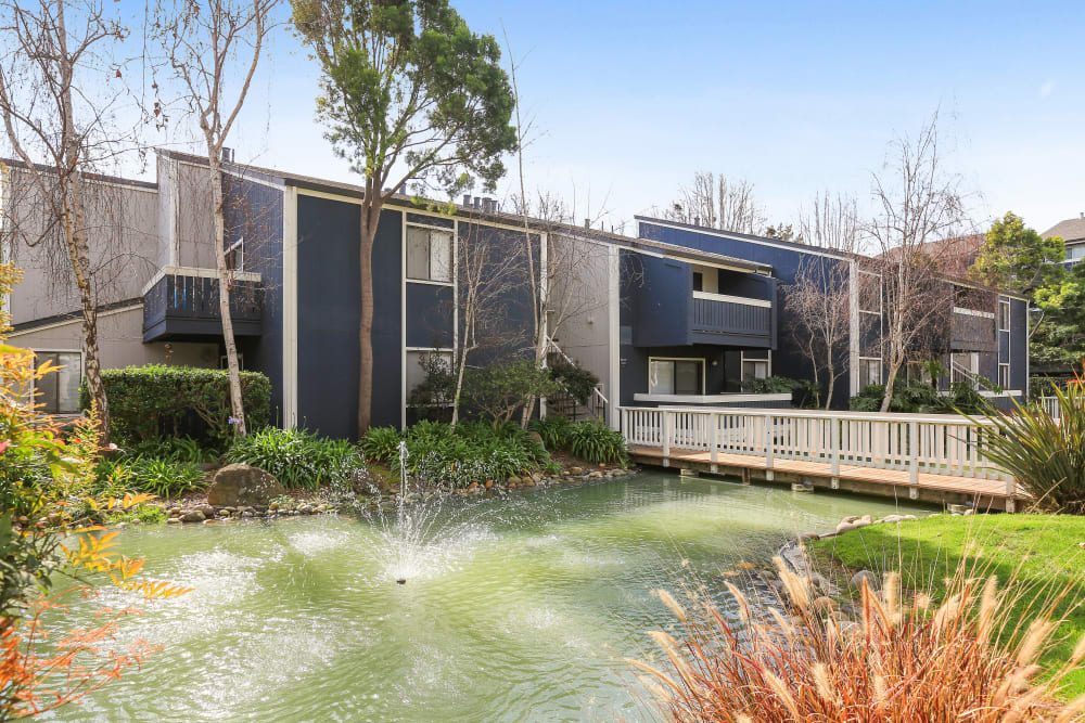 Manicured lawns and ponds at Ballena Village Apartment Homes in Alameda, California