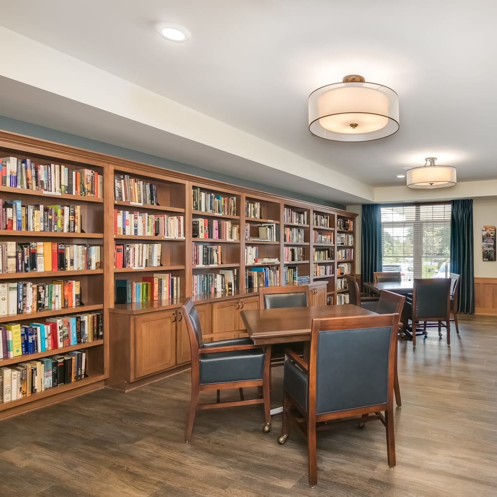 The library at Applewood Pointe Roseville at Central Park in Roseville, Minnesota.