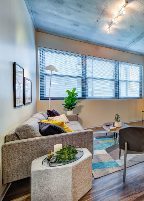 Living room with a view at RISE on Chauncey in West Lafayette, Indiana