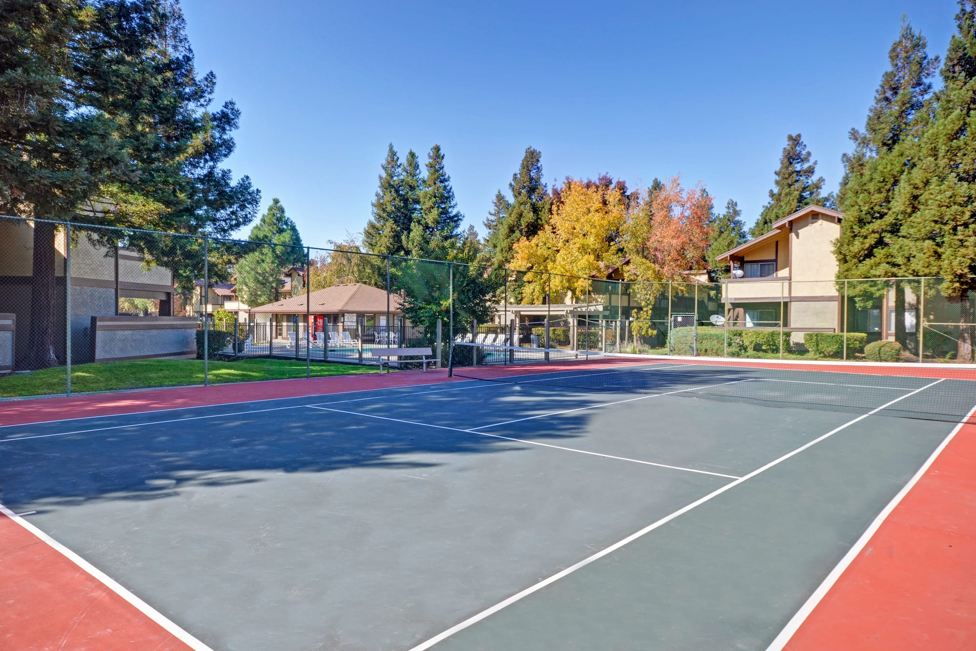 An onsite tennis court at Avery Park Apartments in Fairfield, California