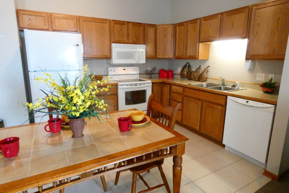 A full resident kitchen at The Lakeside Village in Panora, Iowa
