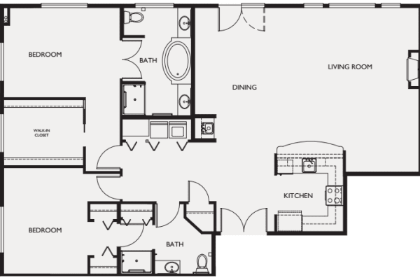 Two bedroom penthouse II floor plans at The Bellettini in Bellevue, Washington