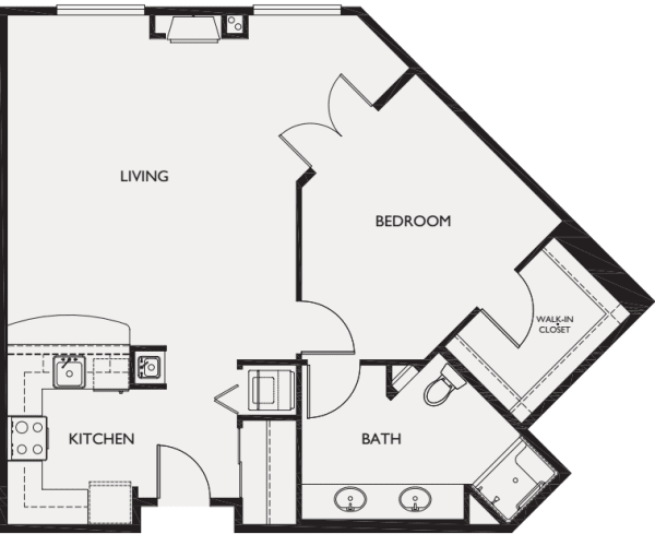 One Bedroom III floor plans at The Bellettini in Bellevue, Washington