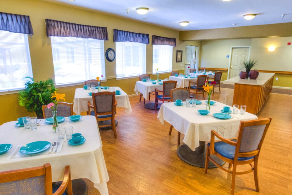 Community dining room at The Meadows - Assisted Living in Elk Grove, California