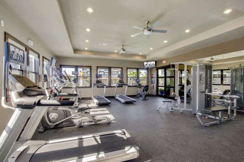 Full sized fitness center for residents at Verandas at Alamo Ranch in San Antonio, Texas