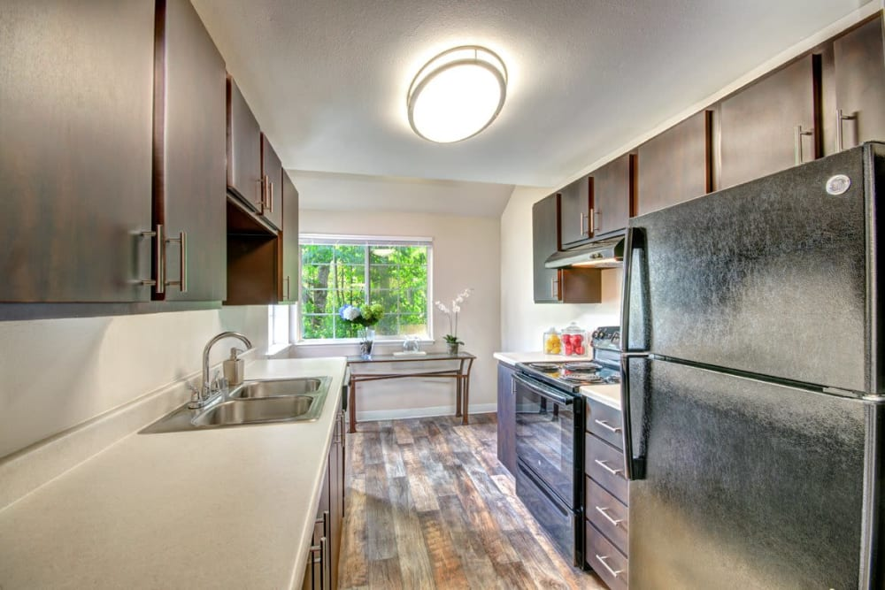 A updated kitchen at Wellington Apartment Homes in Silverdale, Washington